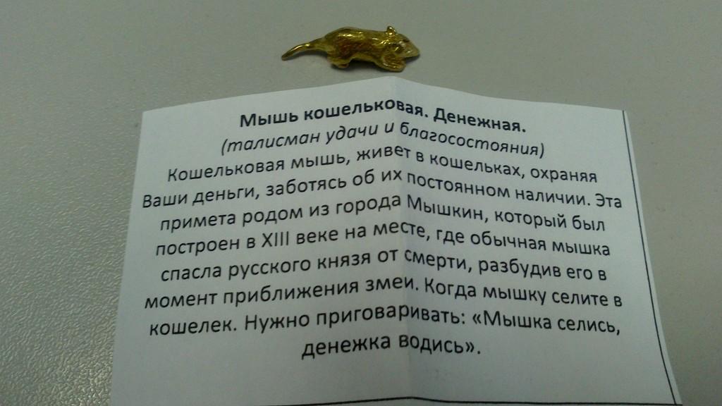 Талисман в кошелек для привлечения денег: мышь, валюта, ложка загребушка