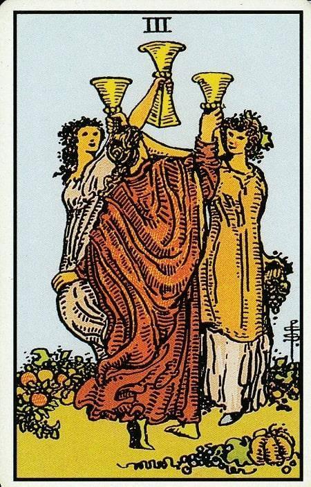 3 (тройка) кубков, чаш таро: значение в отношениях, любви