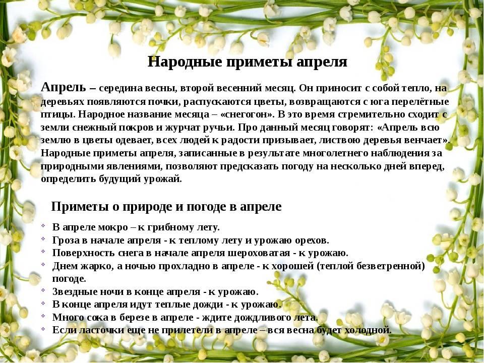 Методическая разработка (старшая группа): народные приметы апреля