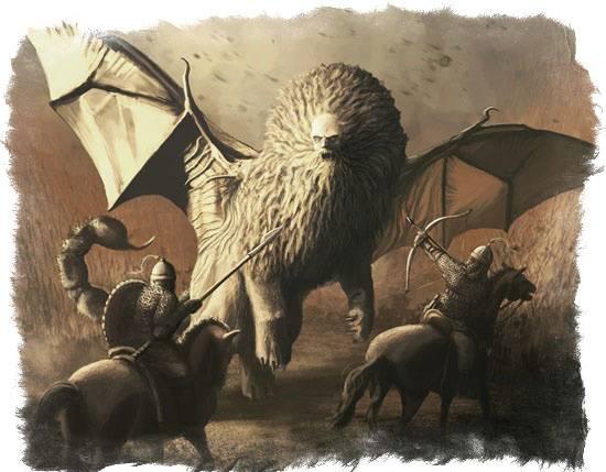 Лев с крыльями и хвостом скорпиона. мантикора — существо из мифов и легенд