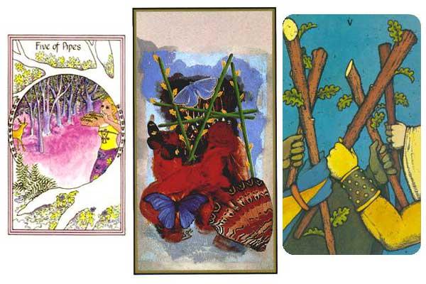 5 (пятёрка) посохов (жезлов) в картах таро: значение в отношениях, любви