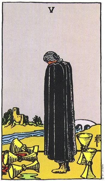 Младший аркан Пятерка кубков Таро значение карты в отношениях и карьере, сочетание 5 чаш со старшими арканами