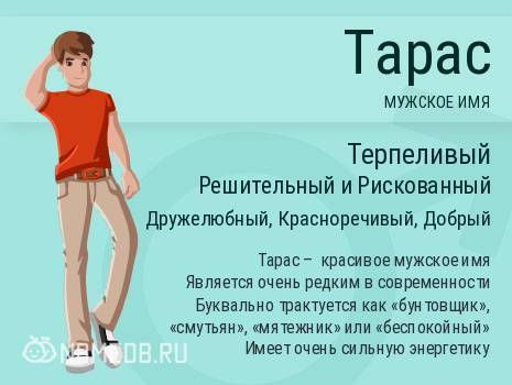 Значение имени Тарас происхождение и характеристика