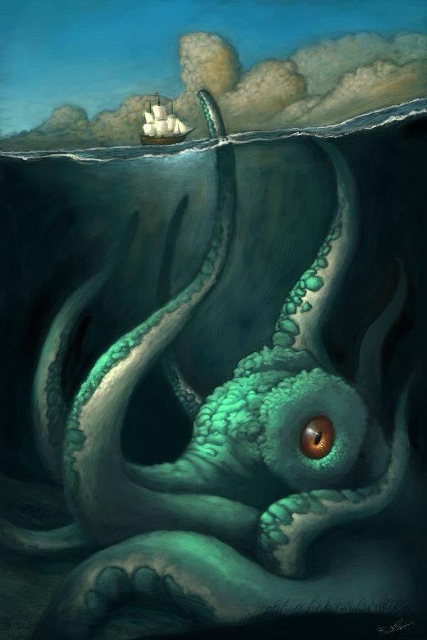 Археологи нашли доказательства существования кракена: гигантского монстра топившего корабли (7 фото)