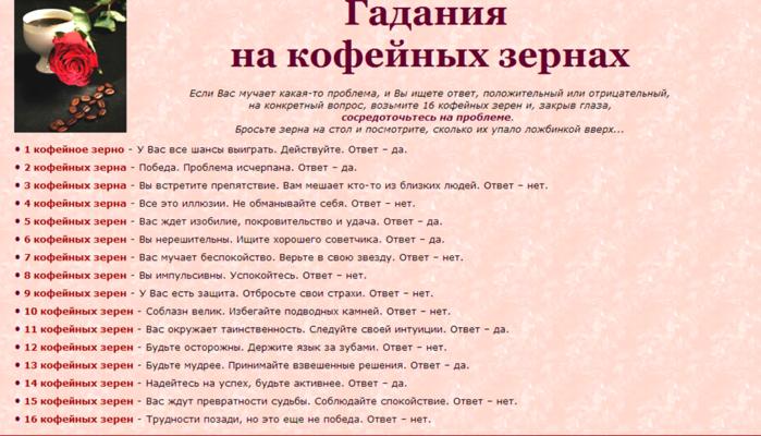 Гадание на кофейной гуще онлайн бесплатно