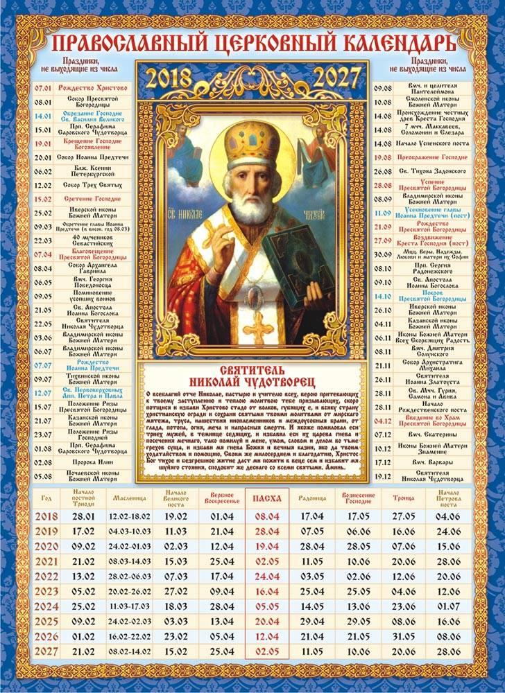 Календарь церковных православных праздников на 2014 год