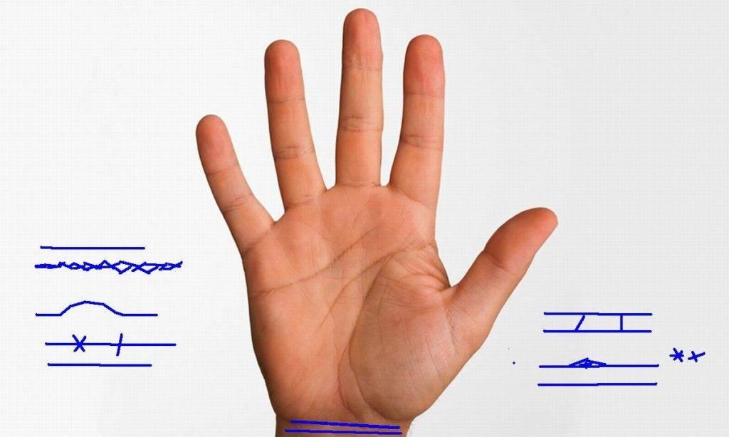 Что означают линии браслетов на руке. линии на запястье - браслеты или рассцеты. значение браслетов на запястье. браслеты на запястье, хиромантия.