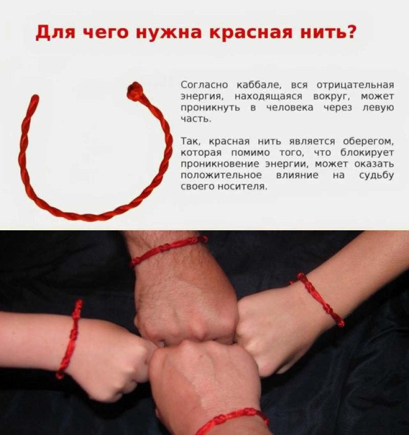 Красная нить на запястье талисман