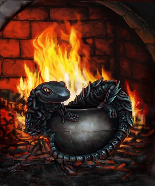 Саламандра - мифическая огненная ящерица - гороскопы на эзоскоп