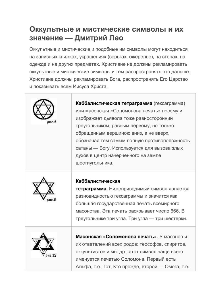 Значение оккультных символов в различных религиях. сильные магические знаки и символы, их значение