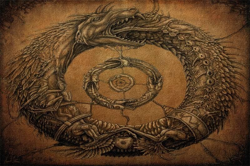 Змея, кусающая себя за хвост: значение оберега уроборос