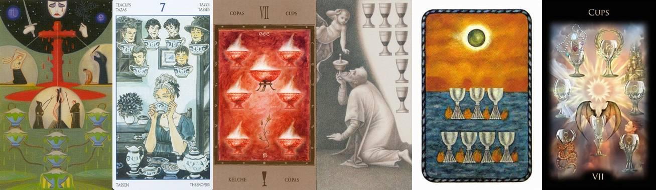7 (семёрка) кубков (чаш) в картах таро: значение в отношениях, здоровье