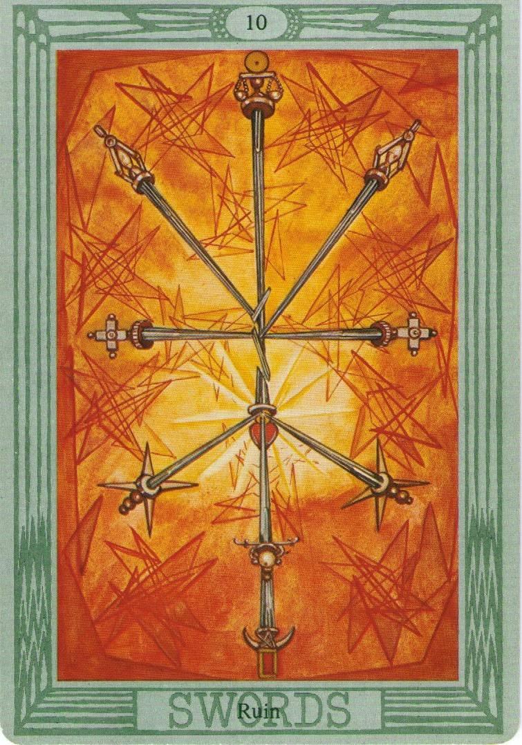 Значение и трактовка карты 10 (десятка ) мечей таро — при гадании и в сочетании с другими арканами