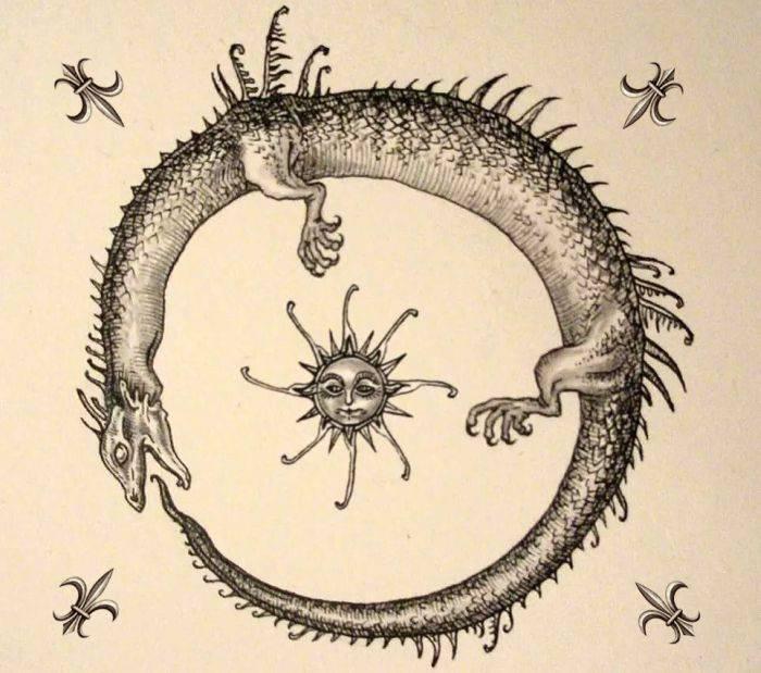 Что символизирует Уроборос — змея, кусающая себя за хвост